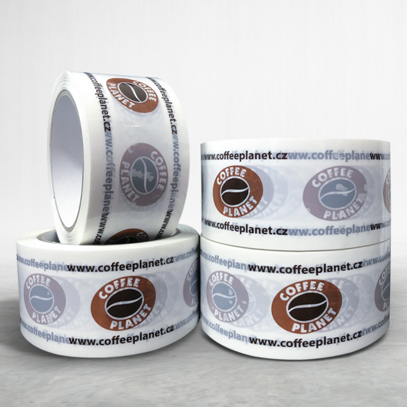 Adhesive custom printed packing pvc tape Coffee Planet