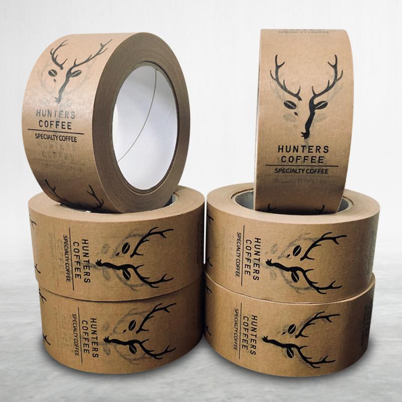 Adhesive custom printed packing paper tape Hunters Coffee