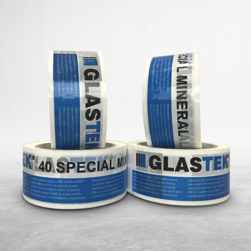 Reklamní balící lepící páska s potiskem Glastek