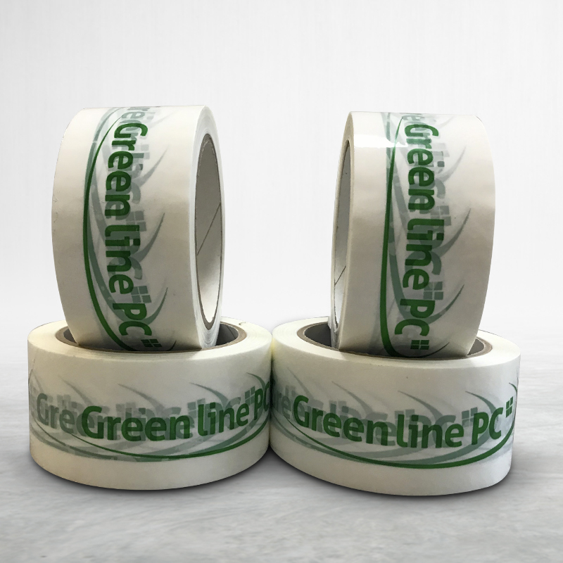 Adhesive custom printed packing tape Green Line PC